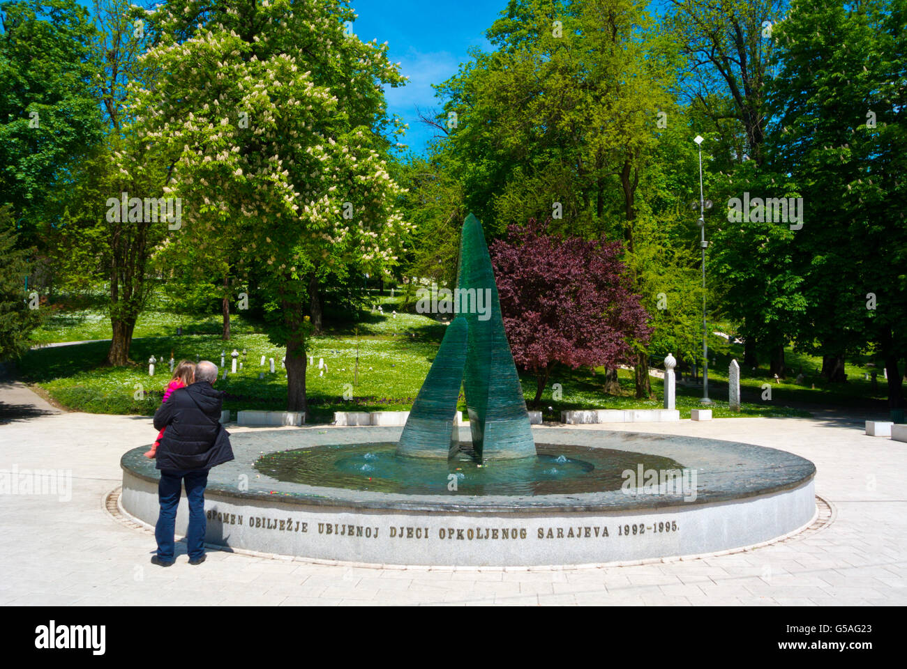Memorial for children killed during early 90s siege, Veliki Park, Sarajevo, Bosnia and Herzegovina, Europe - Stock Image