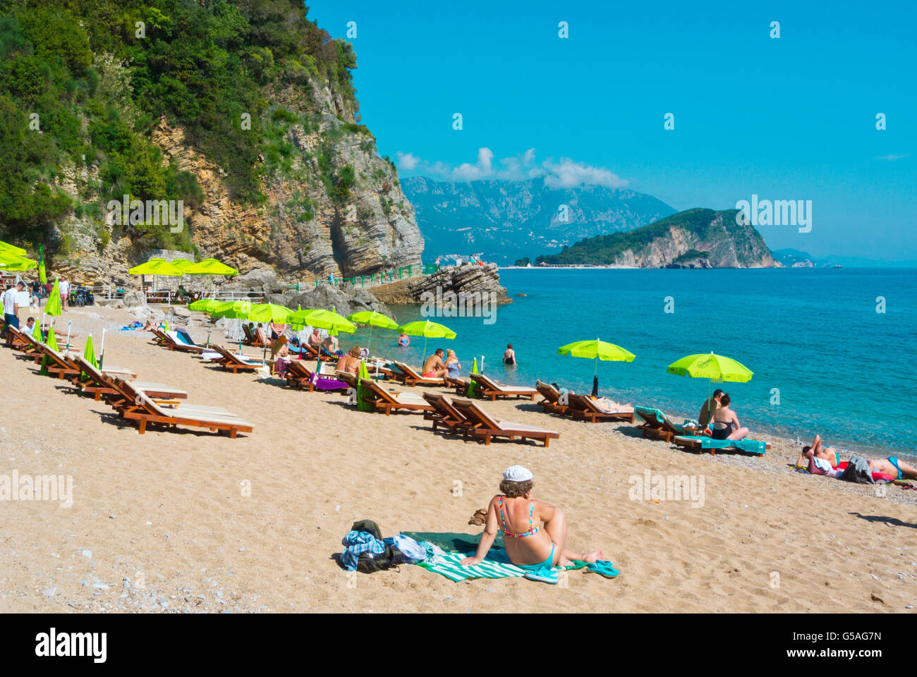 Plaza Mogren, Mogren beach, Budva, Montenegro, Europe Stock Photo