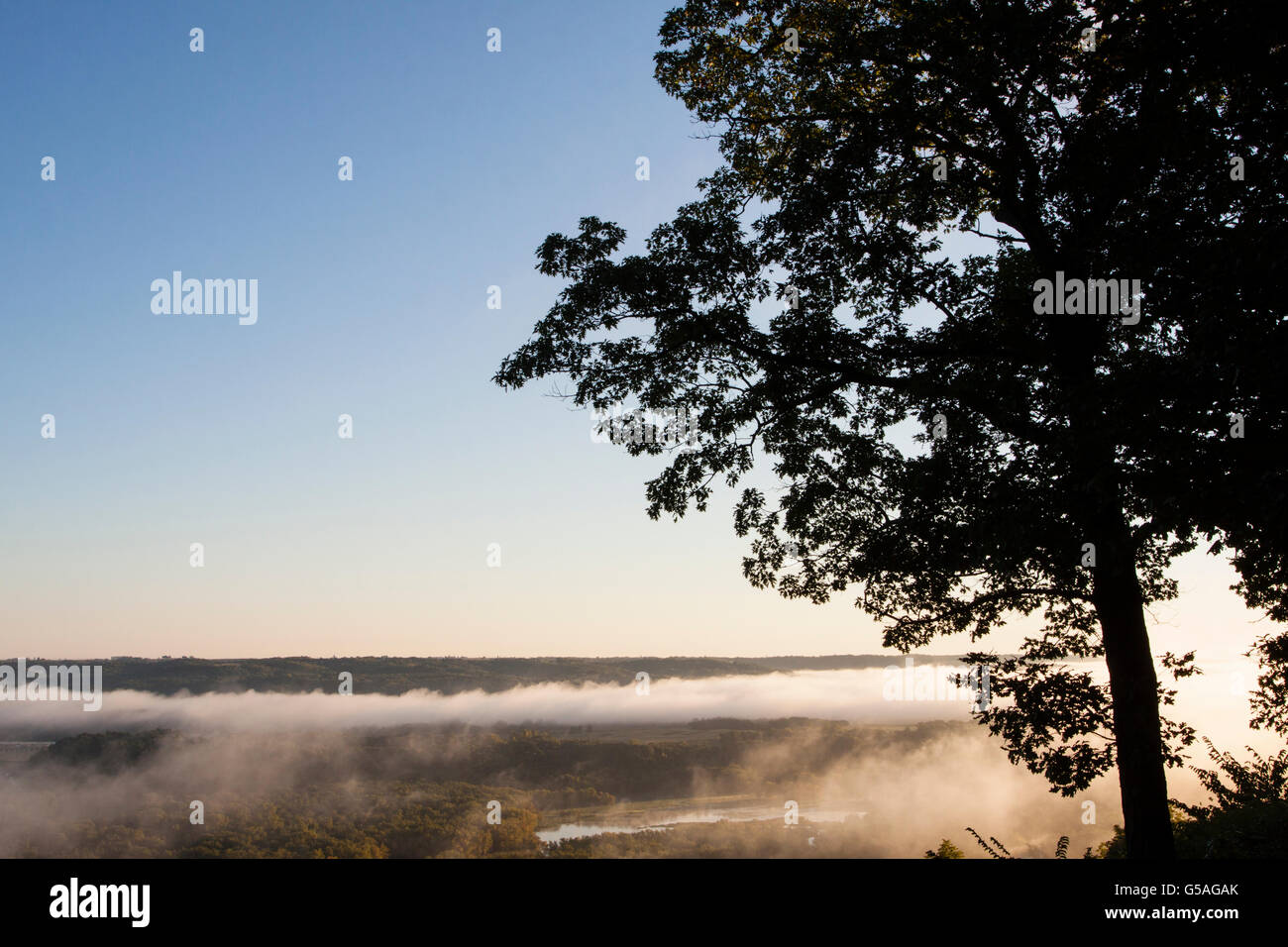Fog Rising Over Mississippi River at Wyalusing Park Stock Photo