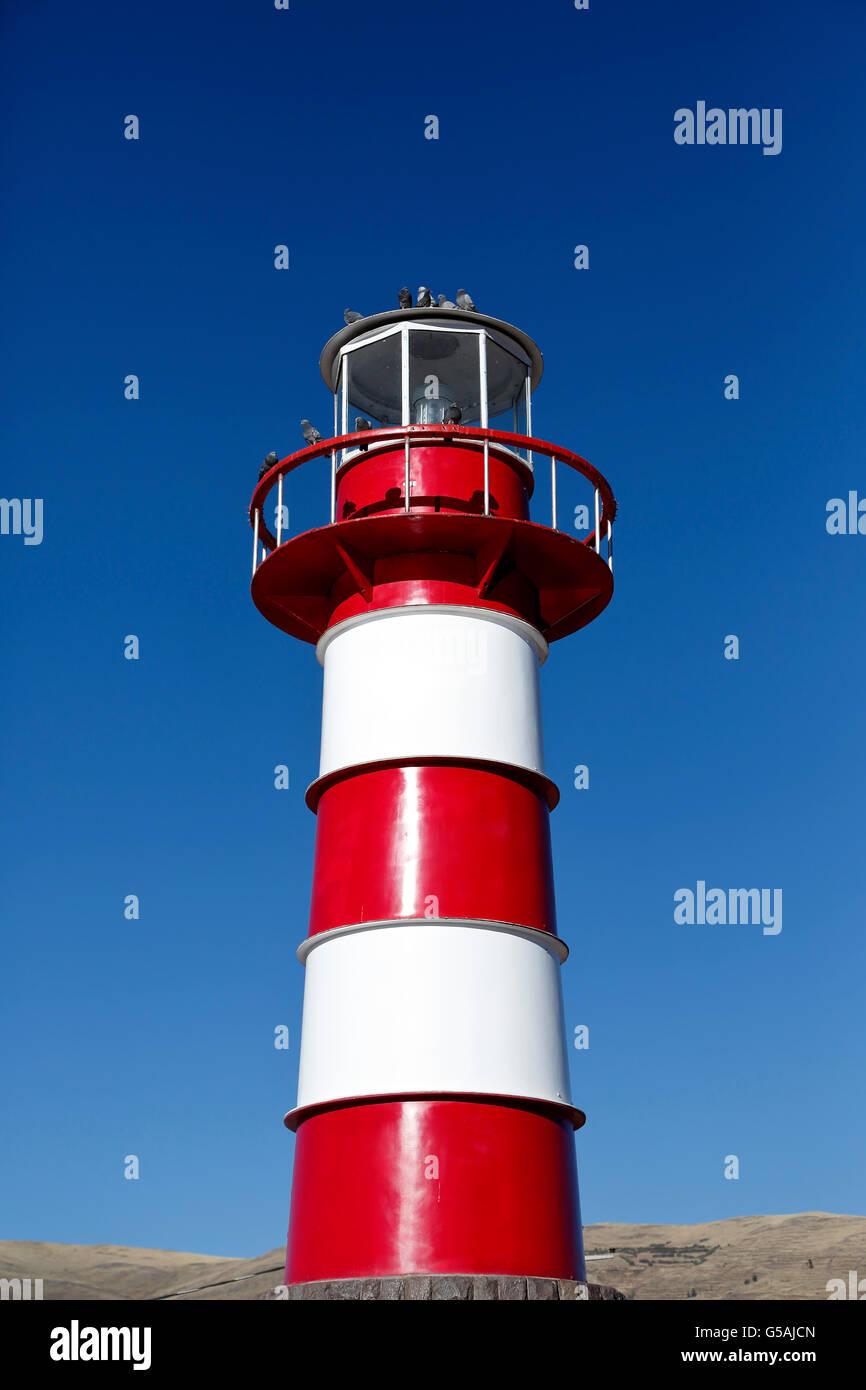 Titikaka Lighthouse, marina, Puno Port, City of Puno, Lake Titicaca, Peru Stock Photo