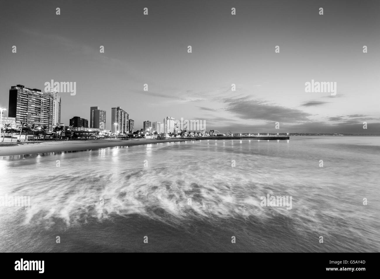 Durban beachfront in the early morning Stock Photo