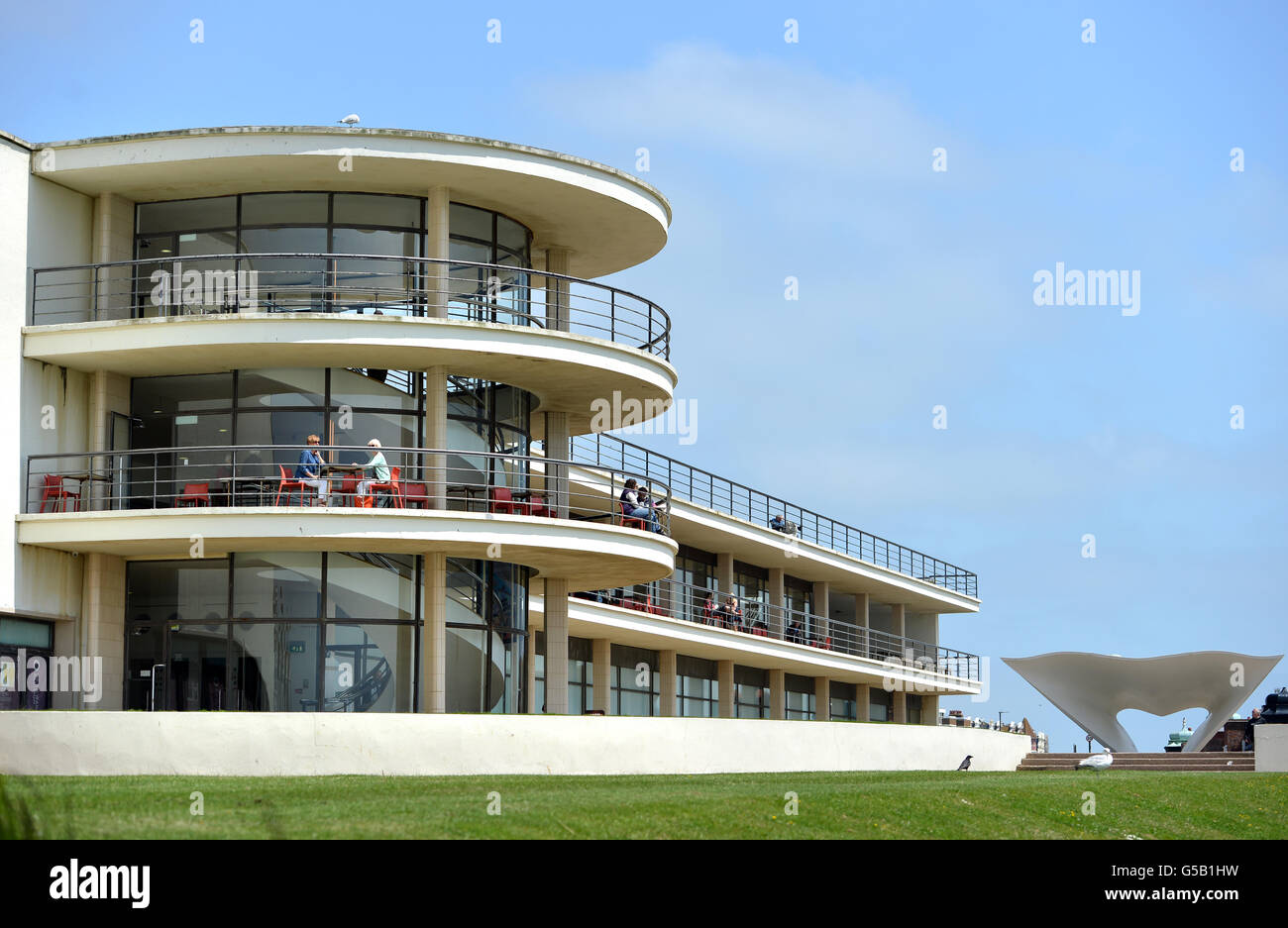 De La Warr Pavilion, Bexhill, East Sussex, designed by  Erich Mendelsohn and Serge Chermayeff and constructed in - Stock Image