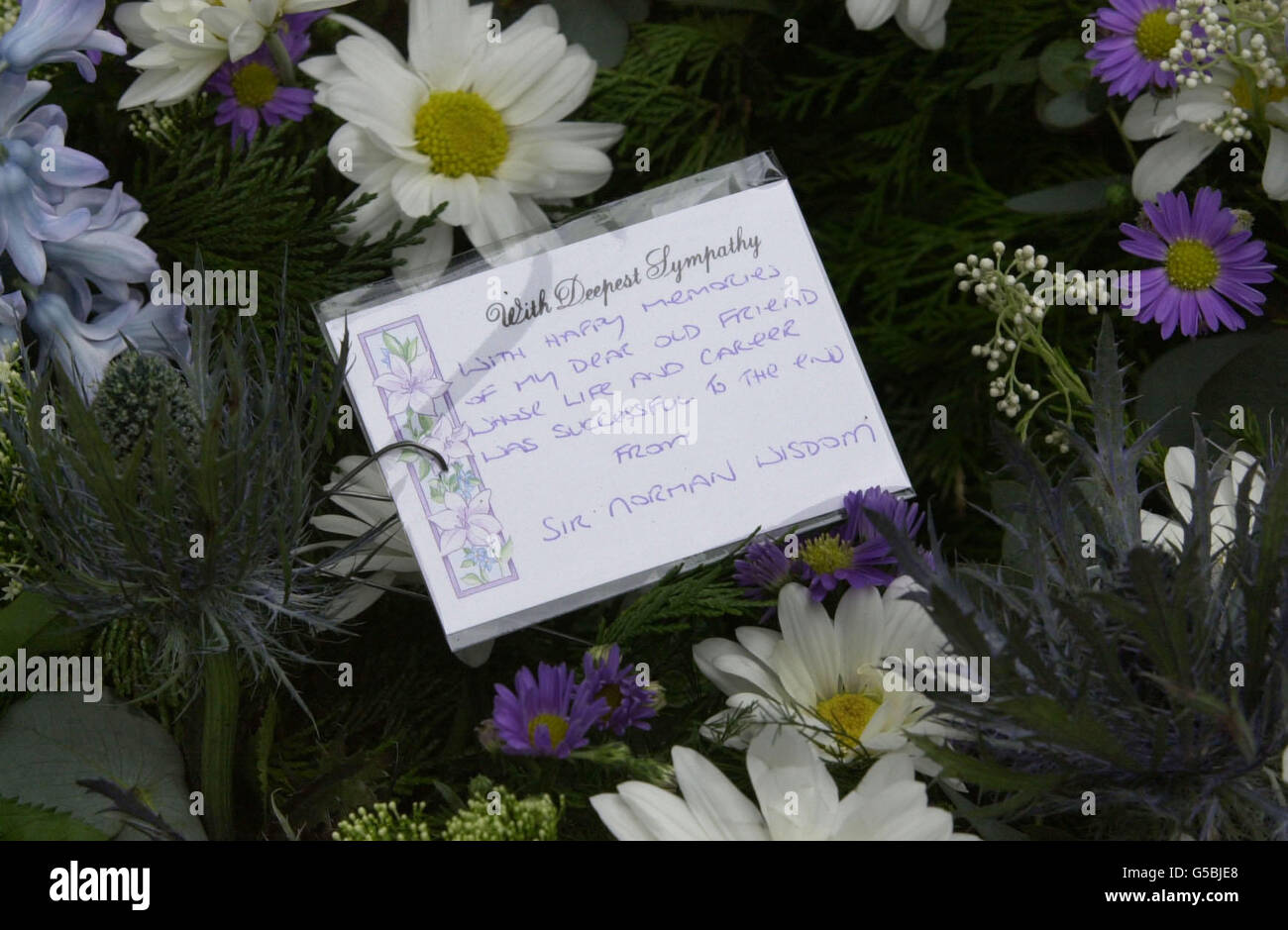 London Harry Secombe Funeral Flowers Stock Photo 106591472 Alamy