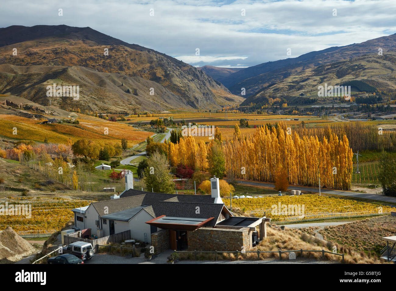 The Winery Restaurant, Mt Difficulty Vineyard, Bannockburn, near Cromwell, Central Otago, South Island, New Zealand - Stock Image