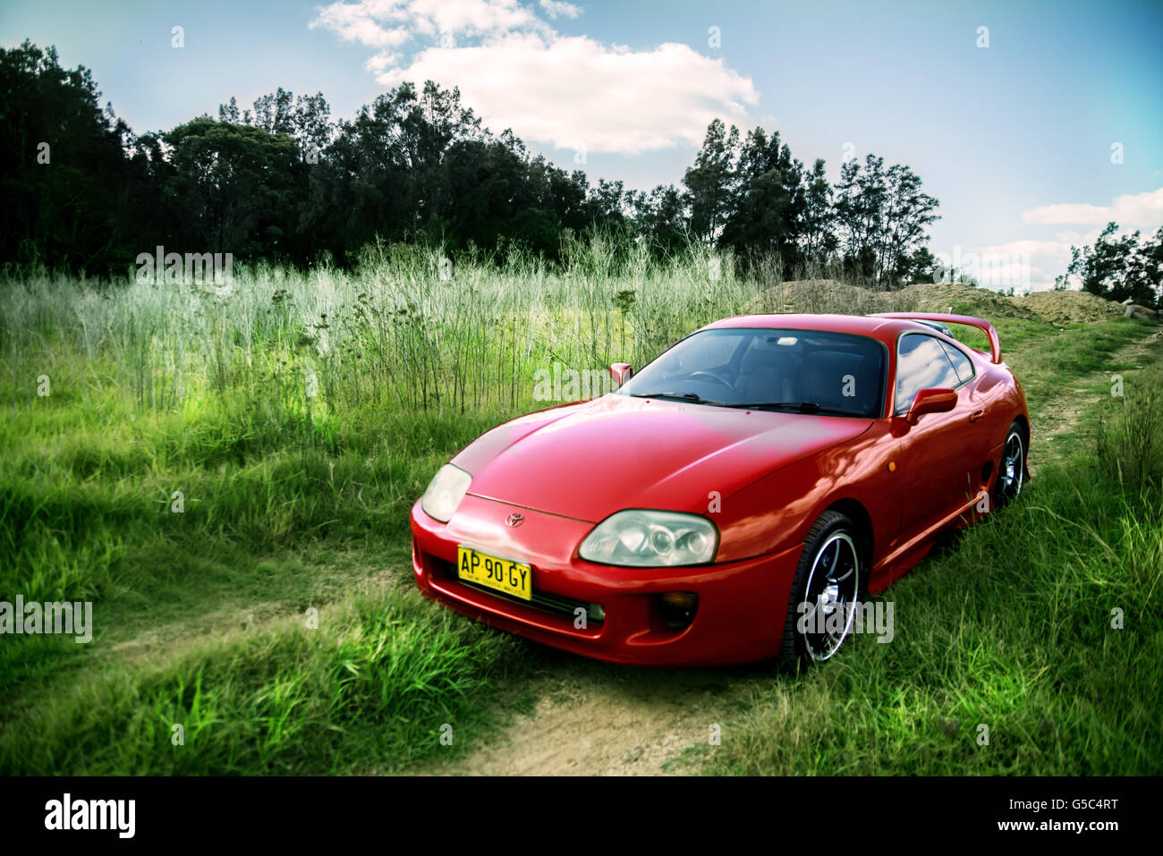 Red Sports Car On Green Grass, Toyota Supra   Stock Image