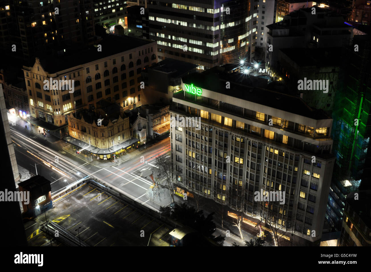 Top view of Surry Hills in Sydney Australia including Vibe Hotel at night time - Stock Image