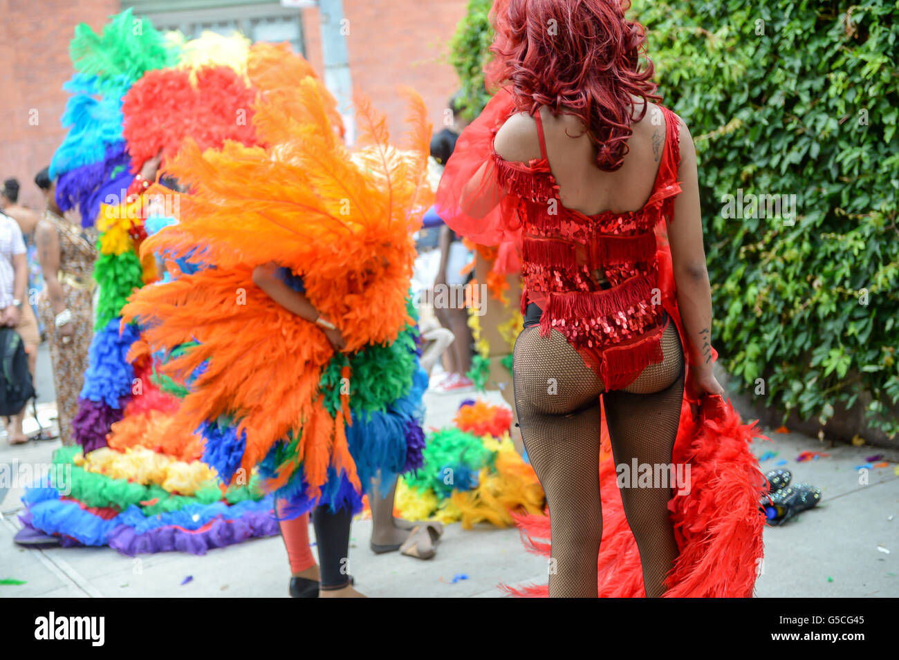 NEW YORK CITY - JUNE 30, 2013: Drag queens gather in Greenwich Village during the annual gay pride event. - Stock Image