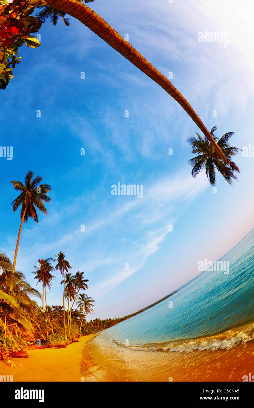 Tropical beach, Mak island, Thailand, fisheye shot - Stock Image