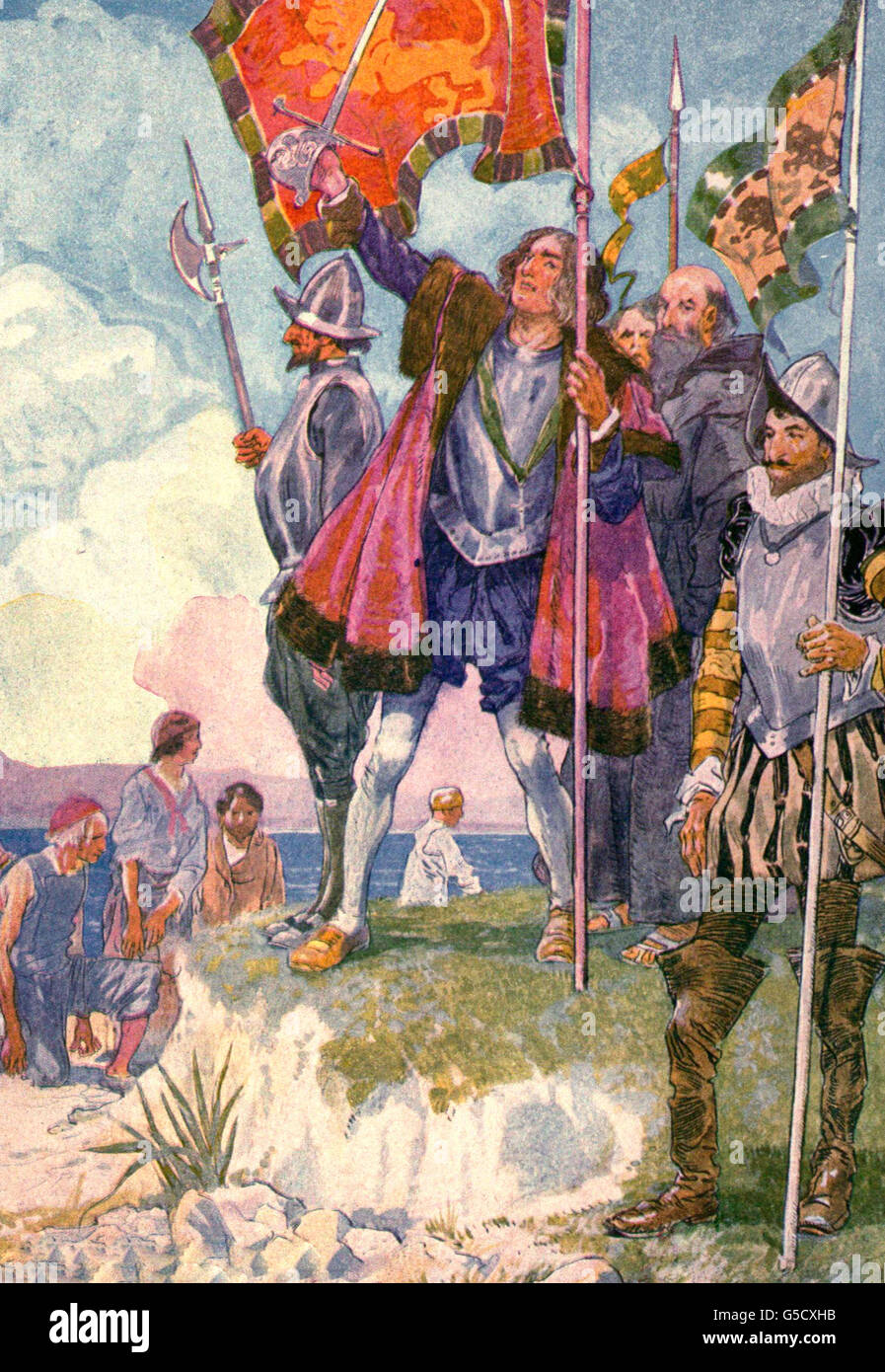 Christopher Columbus shaking the Red and Gold Flag of Spain and taking possession of the island - Stock Image
