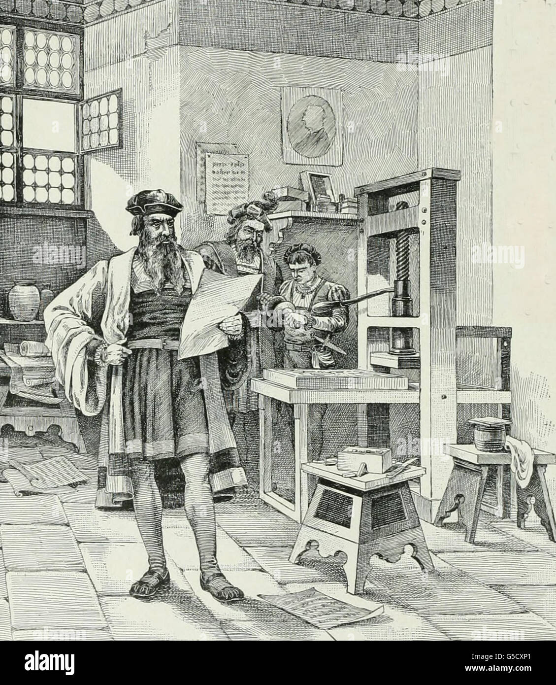Guttenburg and Faust discover the art of printing - Stock Image