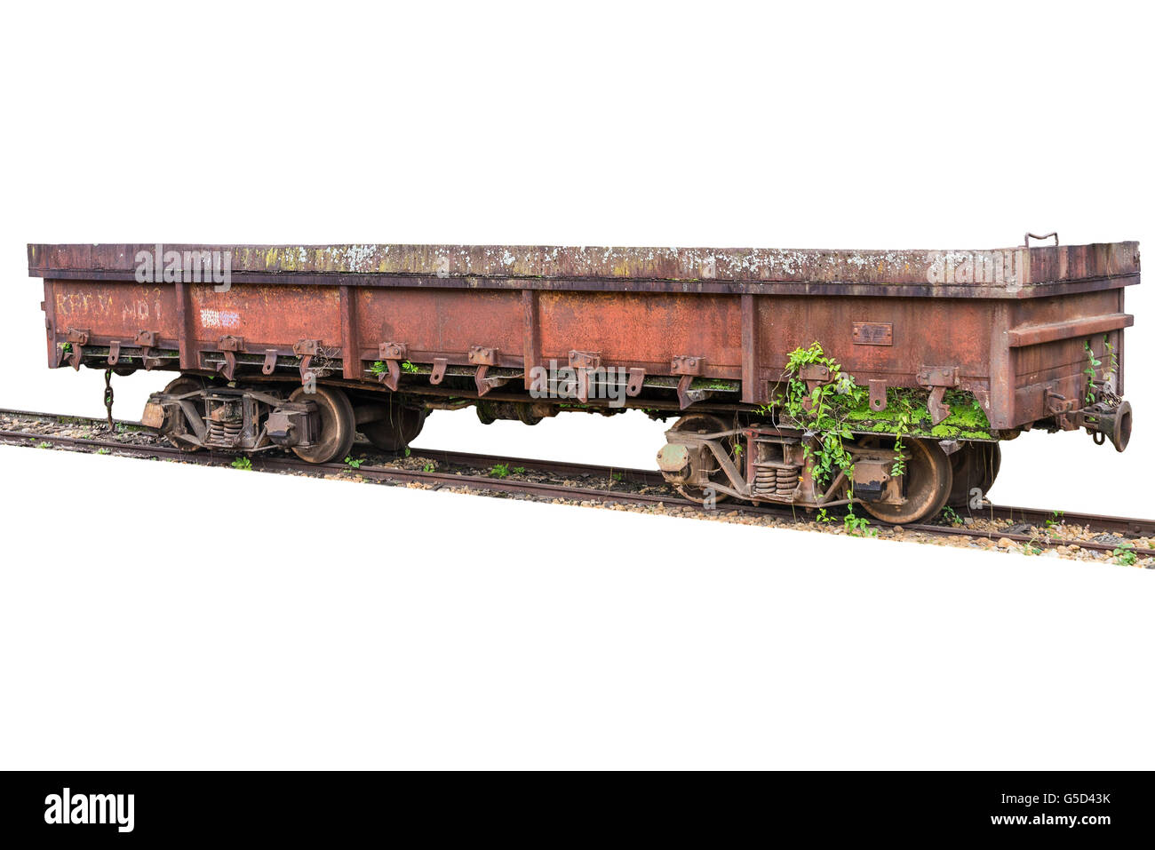 Old May Smoke train deactivated wagon on white isolated background. - Stock Image