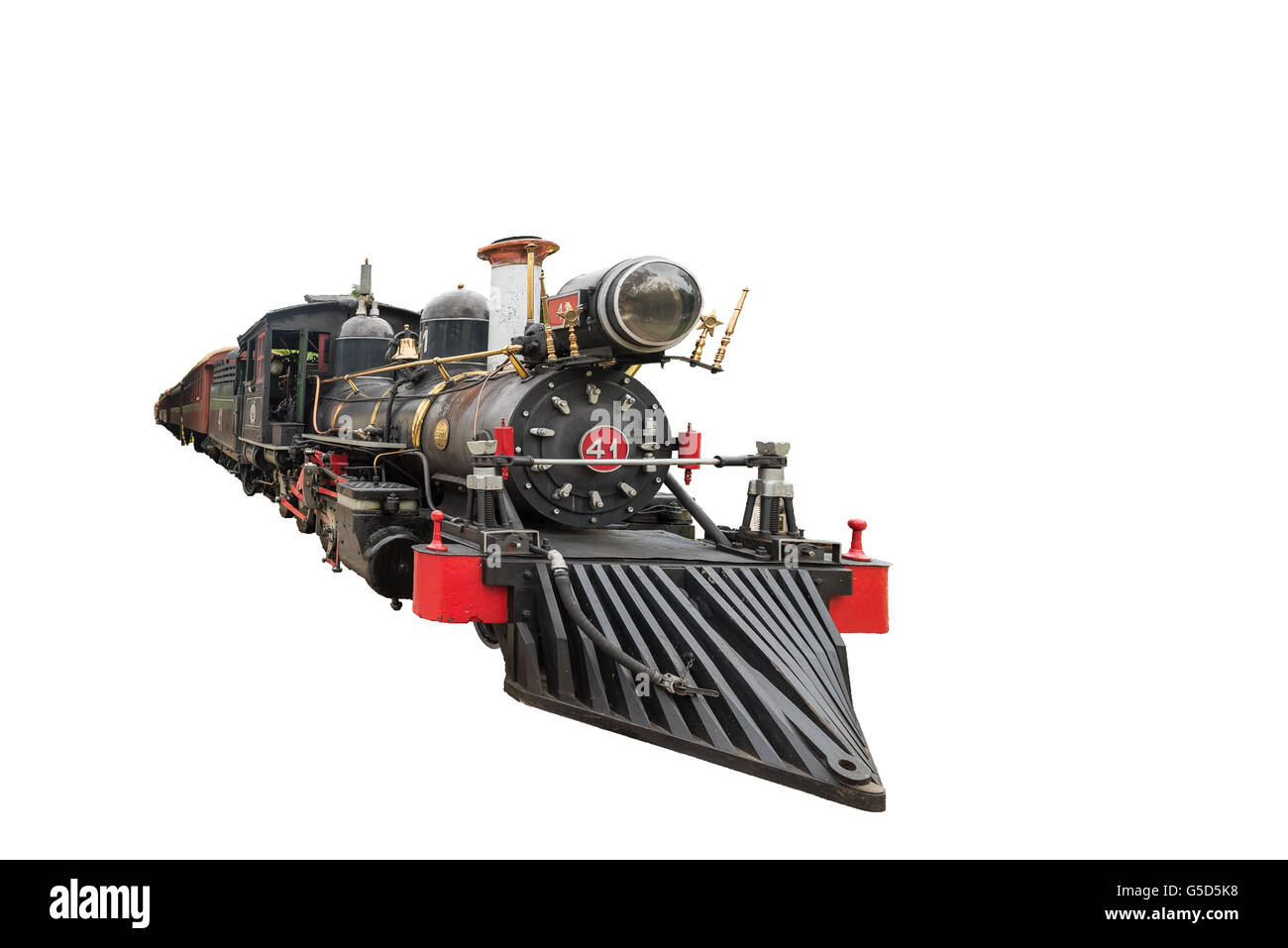 Old Mary Smoke train in Tiradentes, a Colonial Unesco World Heritage city, on white isolated background. - Stock Image