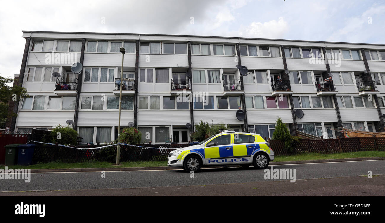 Police outside the block of flats in Friars Wharf, Oxford where the body of a woman in her 50's was found this - Stock Image