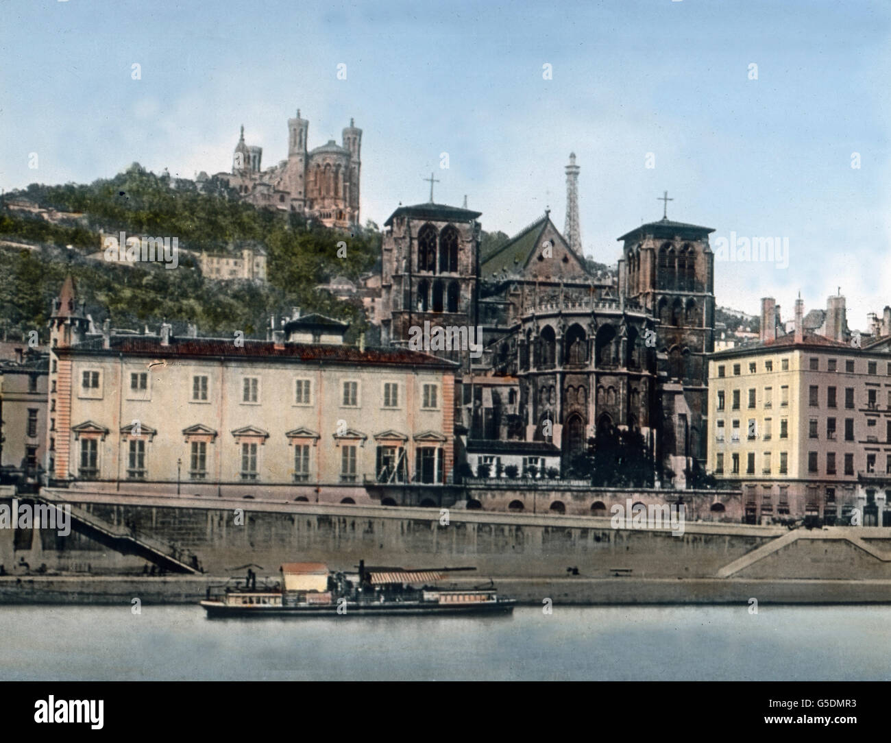 Die Wallfahrtskirche Notre-Dame de Fourviere in Lyon.  France, Lyon, Rhone, Europe, travel, 1910s, 1920s, 20th century, - Stock Image