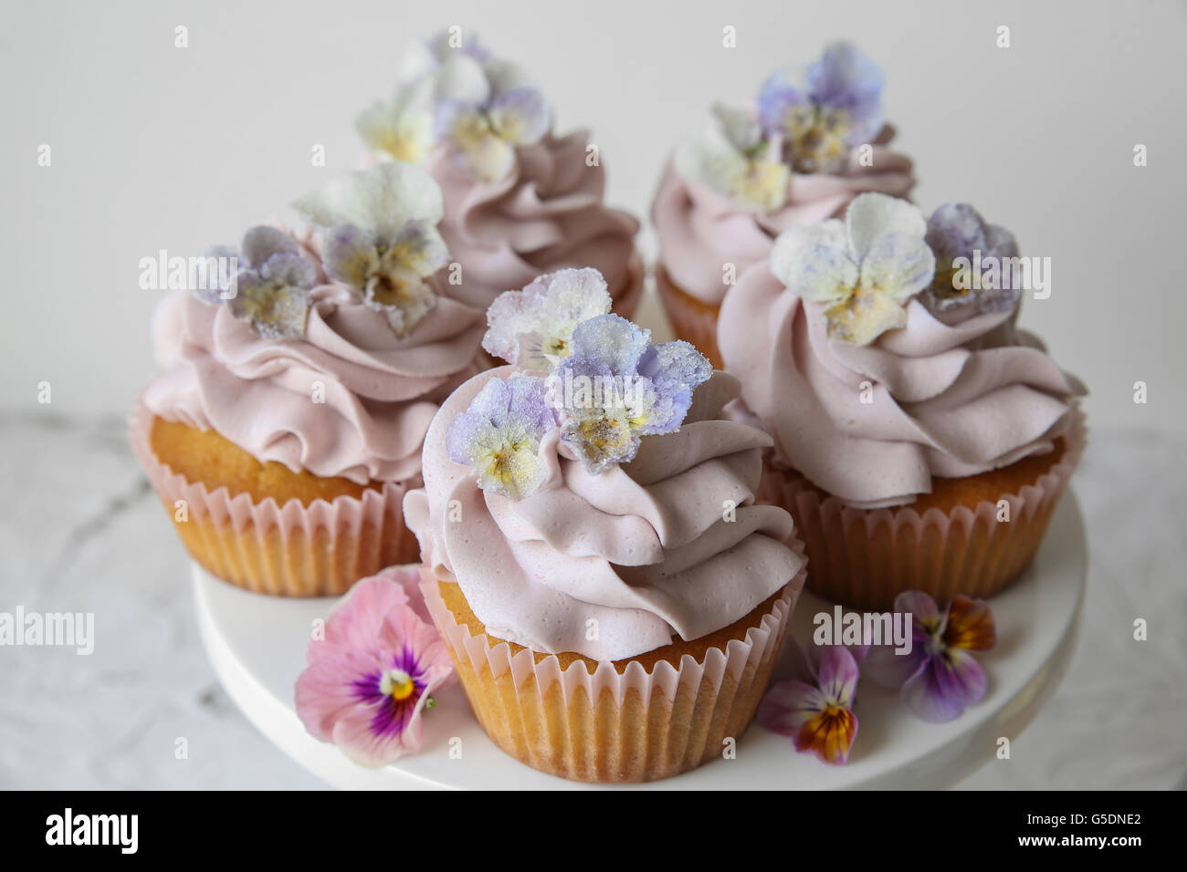Purple cupcakes with sugared edible flowers on cake stand - Stock Image