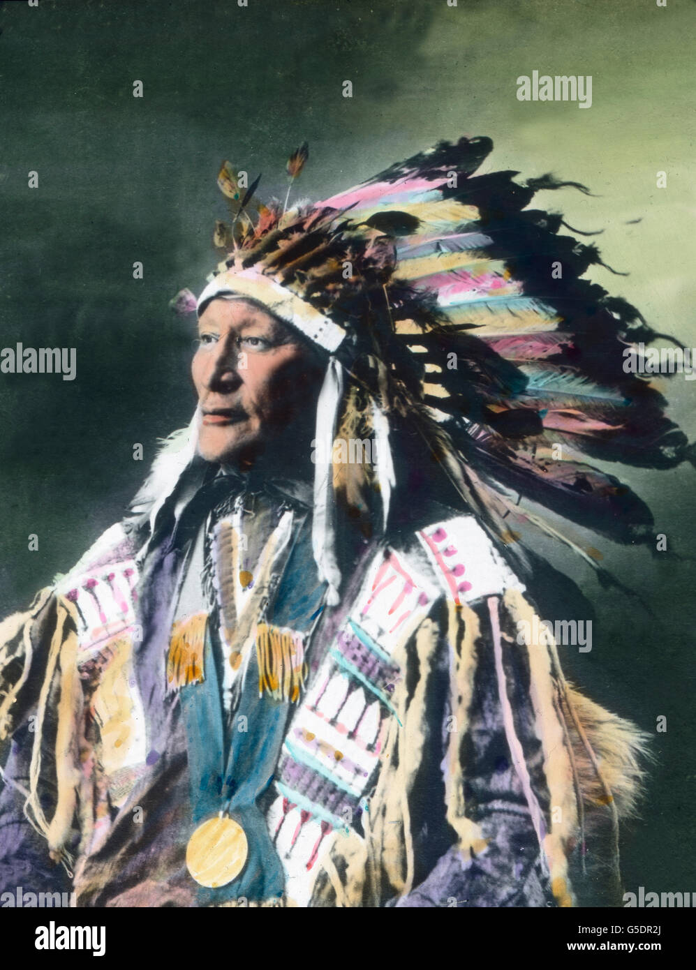 Ein stolzer Indianerhäuptling. America, Northern, North, USA, United States of America, travel, 1910s, 1920s, - Stock Image