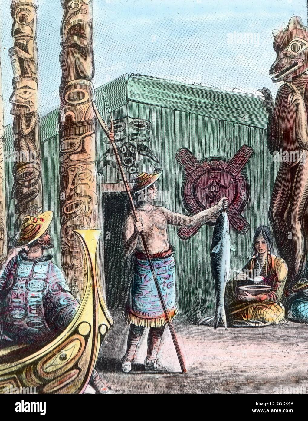 Der Indianerstamm versammelt sich um den Totempfahl.  America, Northern, North, USA, United States of America, travel, - Stock Image