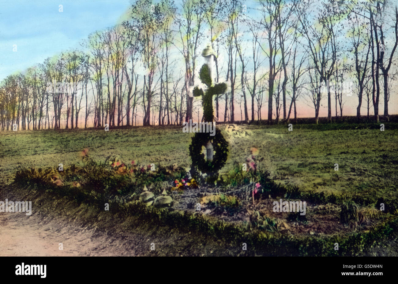 Reitergrab. Grave of a member of the German cavalry.  Germany, war, World War, WWI, 1, history, historical, 1910s, - Stock Image