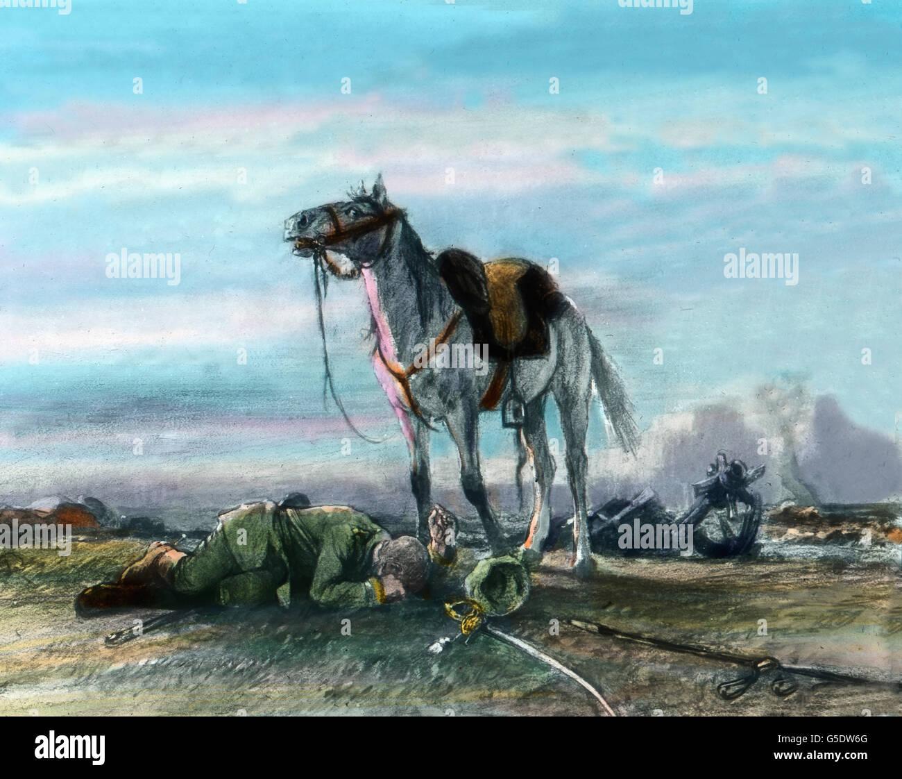 Getreu bis in den Tod. Ein Kavalleriepferd wartet bei seinem gefallenen Reiter. A German cavalry horse waits near - Stock Image