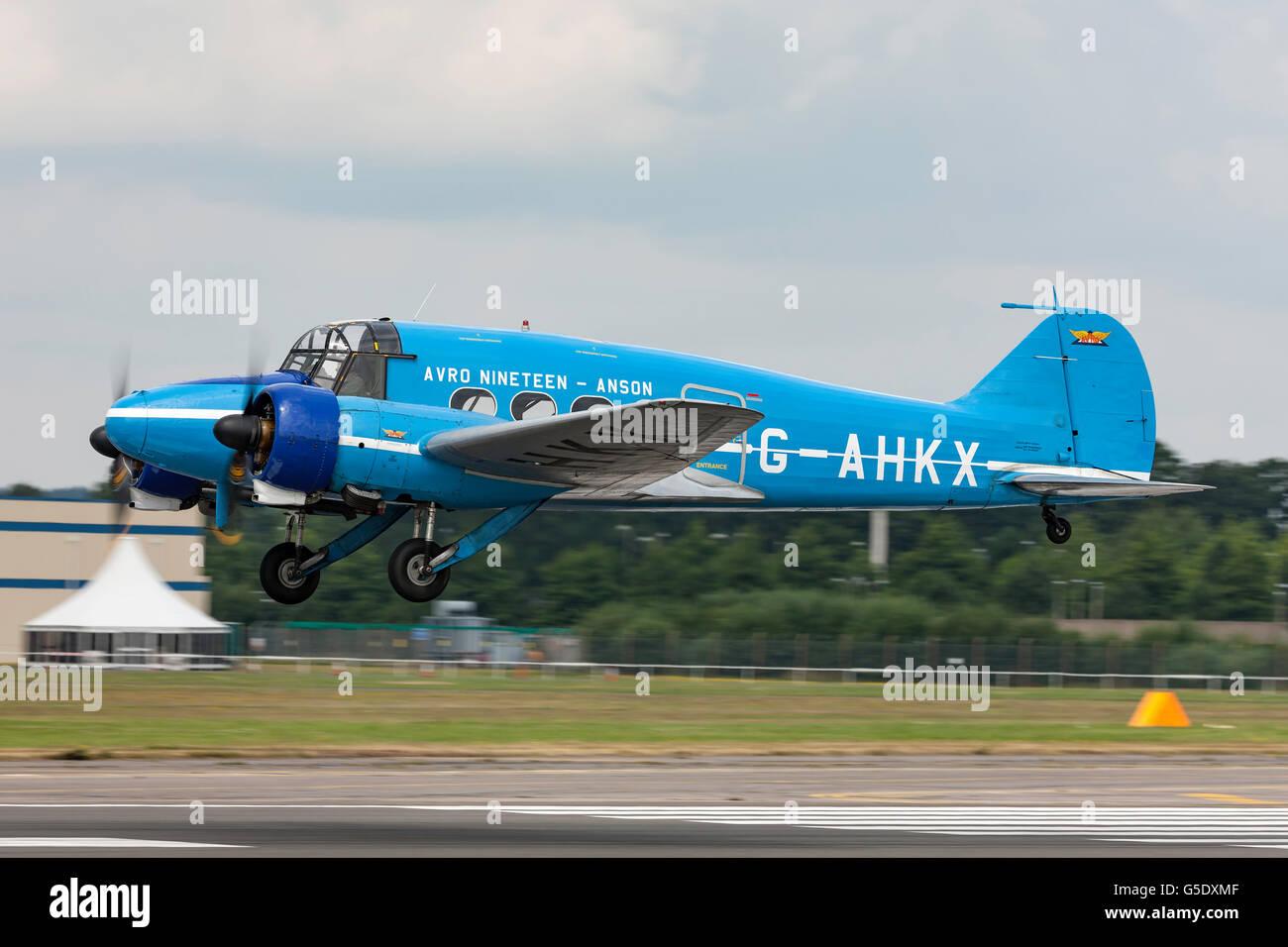 Avro 652A Anson G-AHKX at the Farnborough International Airshow - Stock Image