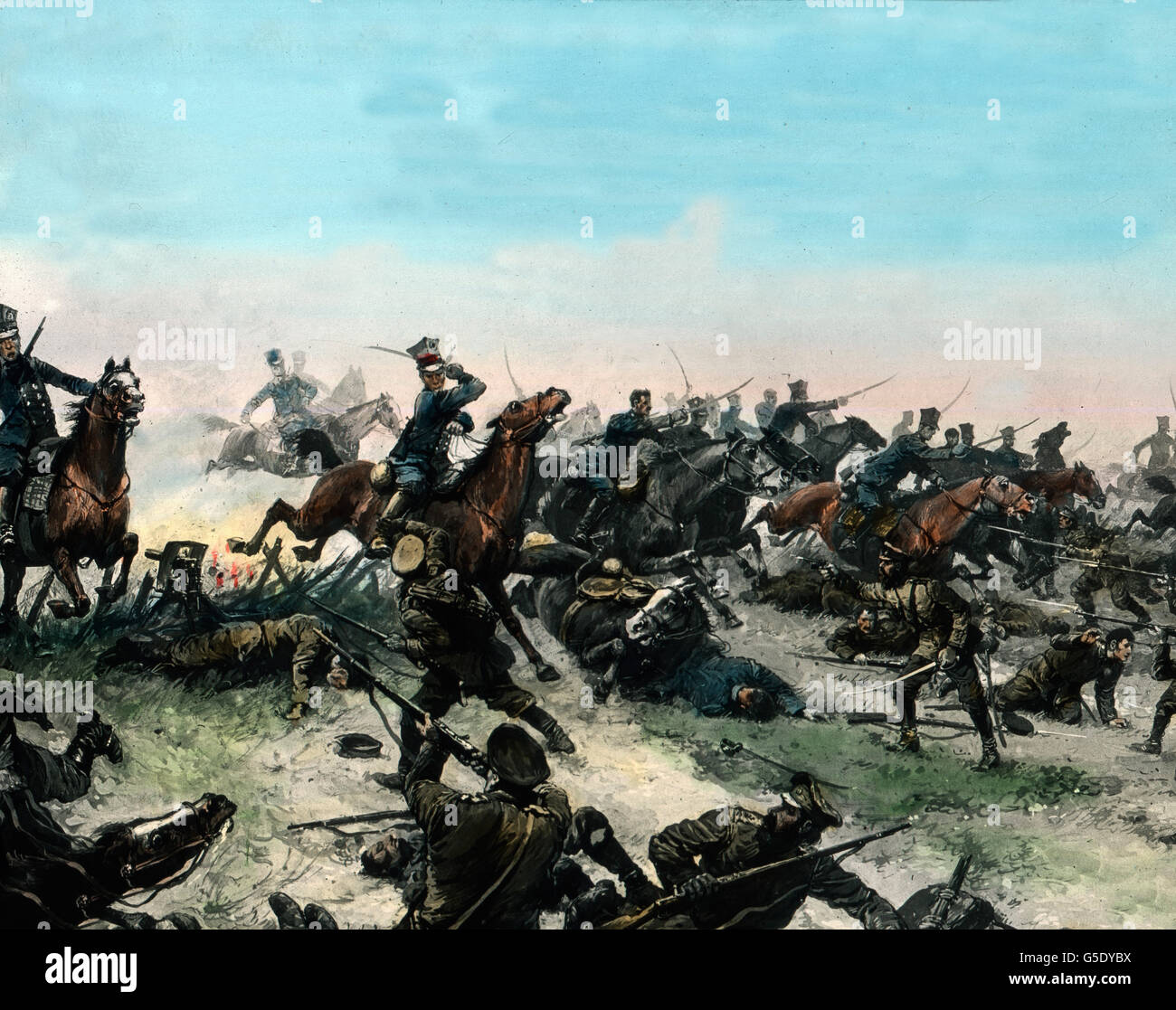 Reiterschlacht. Cavalry in action. Germany, war, World War, WWI, 1, history, historical, 1910s, 20th century, archive, - Stock Image