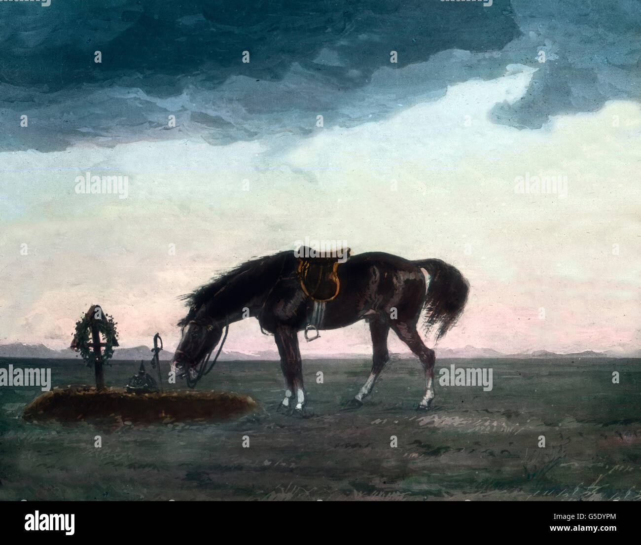 Ein Pferd am Grab seines Reiters. A horse at its rider's grave. Germany, war, World War, WWI, 1, history, historical, - Stock Image