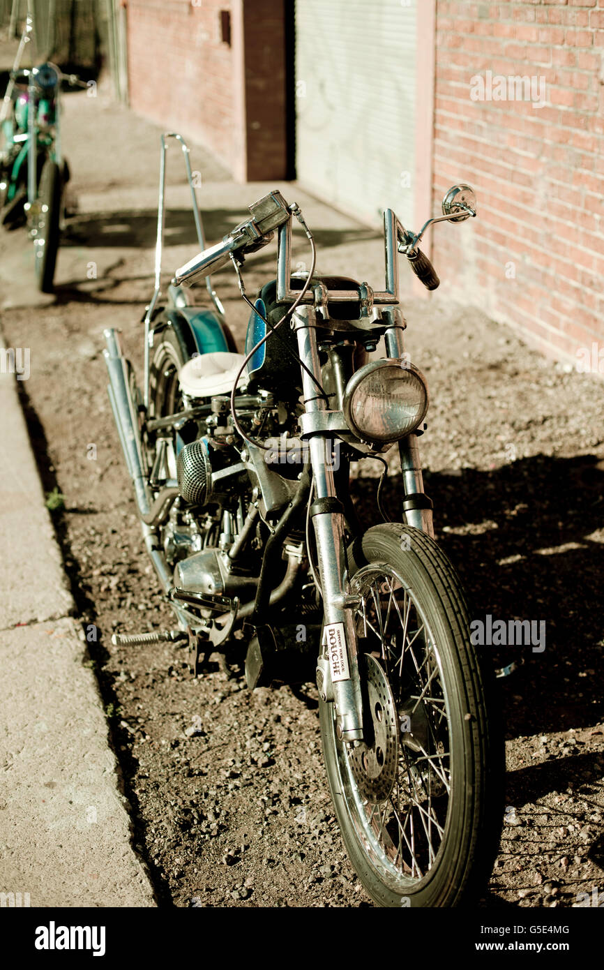 Vintage period correct Chopper Motorcycle - Stock Image