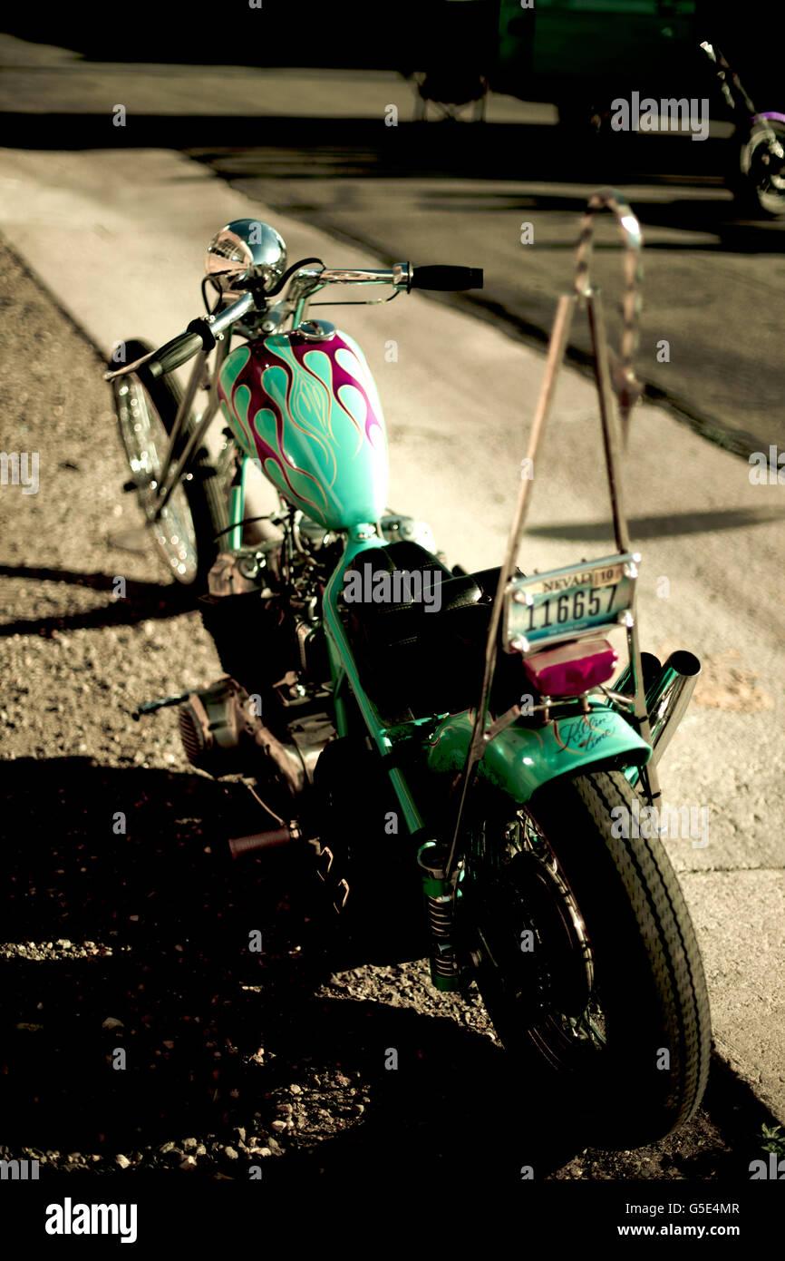 Chopper Back end wheel and vintage light - Stock Image