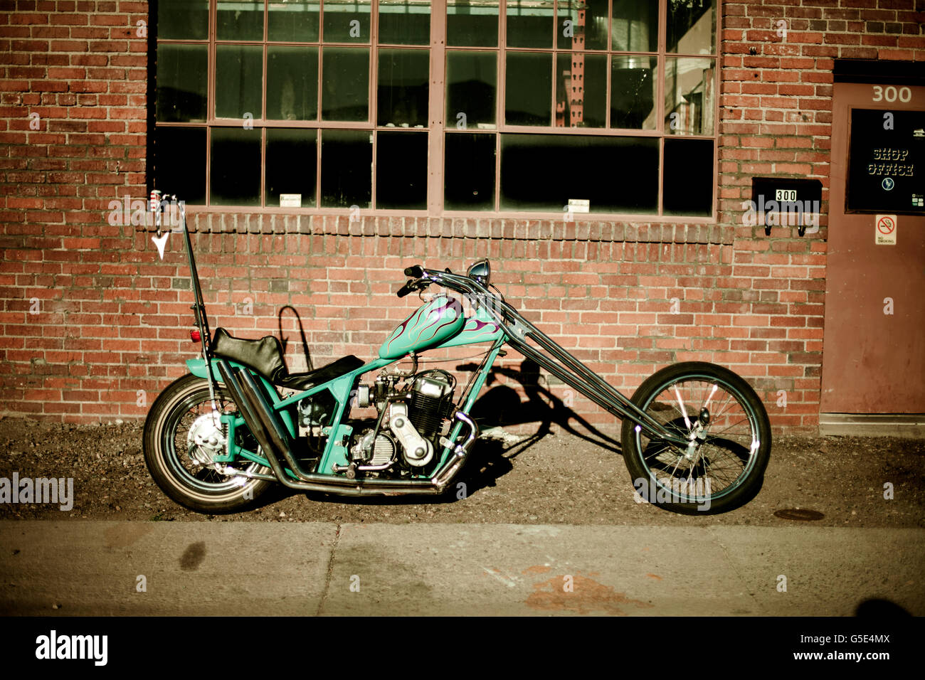 Period correct chopper motorcycle - Stock Image