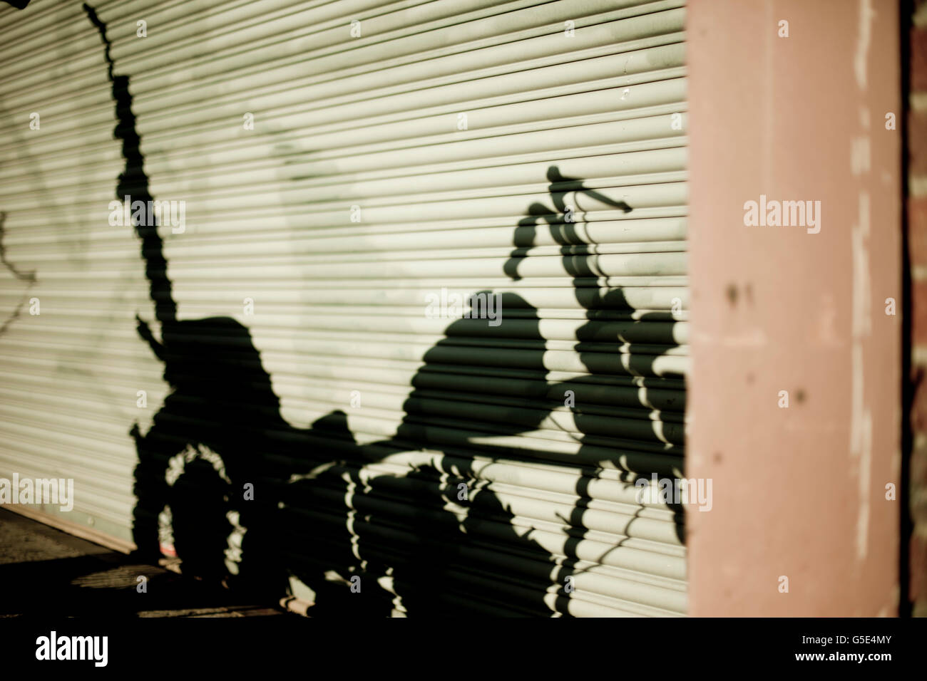 Vintage chopper motorcycle shadow - Stock Image