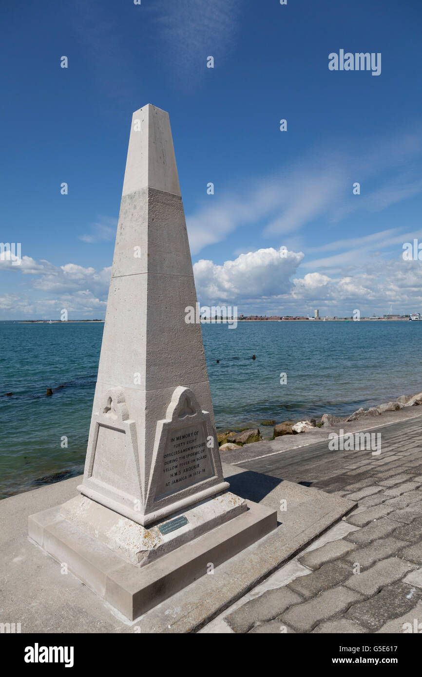 HMS Aboukir Memorial on the seafront at Southsea, Portsmouth, Hampshire, England, United Kingdom, Europe - Stock Image
