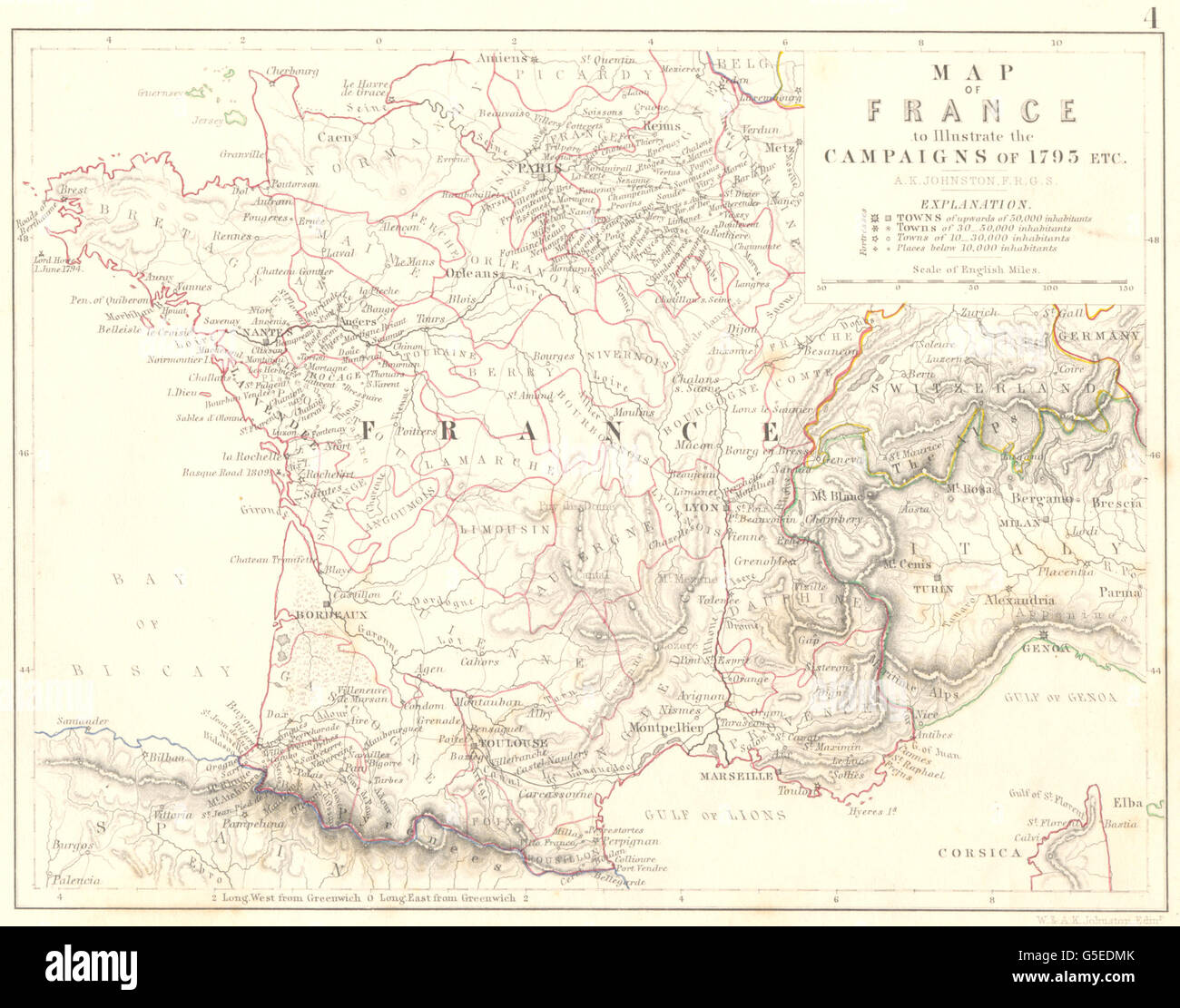 FRANCE: Map of France to illustrate the Campaigns of 1795 etc, 1848 - Stock Image