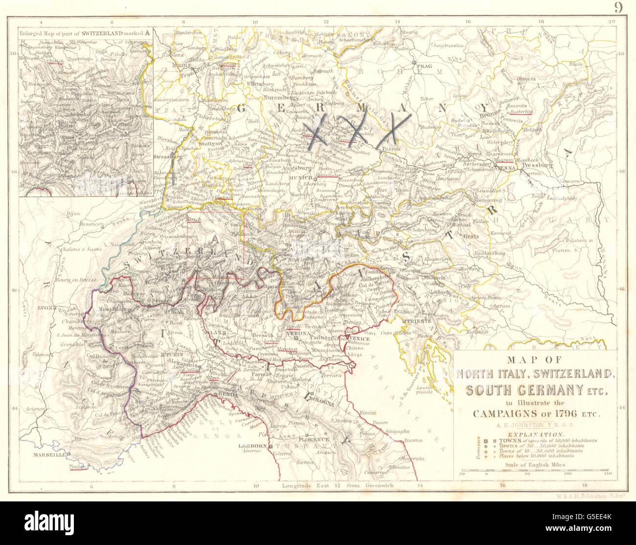 Germany switzerland italy stock photos germany switzerland italy 1796 campaign map north italy switzerland south germany 1848 stock image gumiabroncs Choice Image