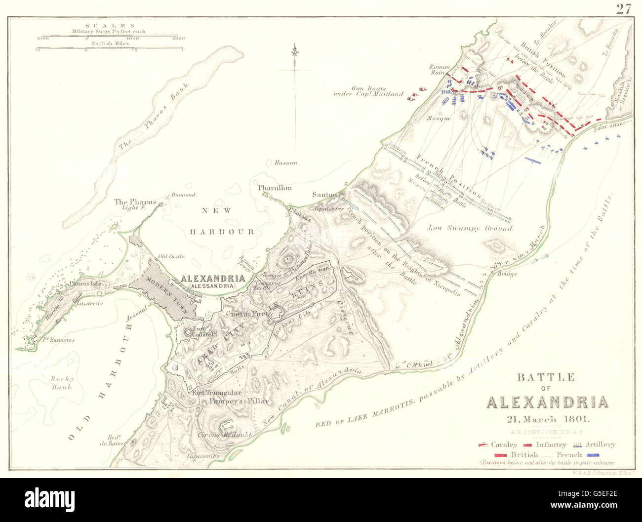 BATTLE OF ALEXANDRIA: 21st March 1801. Egypt. Napoleonic Wars, 1848 old map - Stock Image