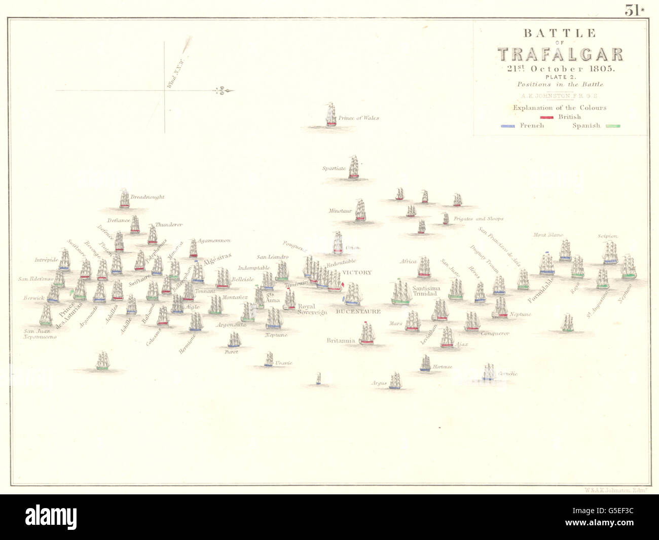 BATTLE OF TRAFALGAR: 21st October 1805 - sheet 2. Spain, 1848 antique map - Stock Image