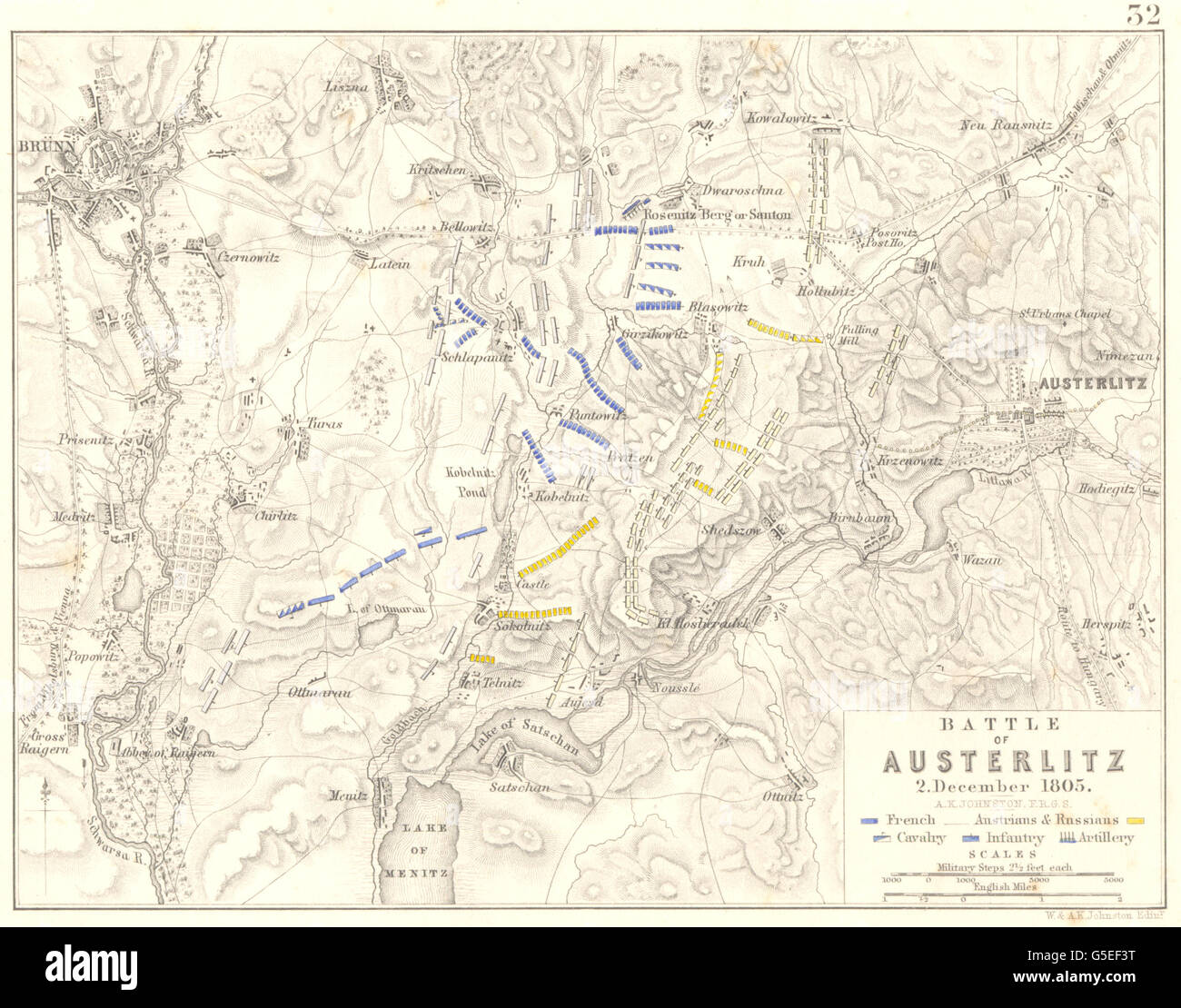 BATTLE OF AUSTERLITZ: Slavkov u Brna. December 1806. Czech Republic, 1848 map - Stock Image