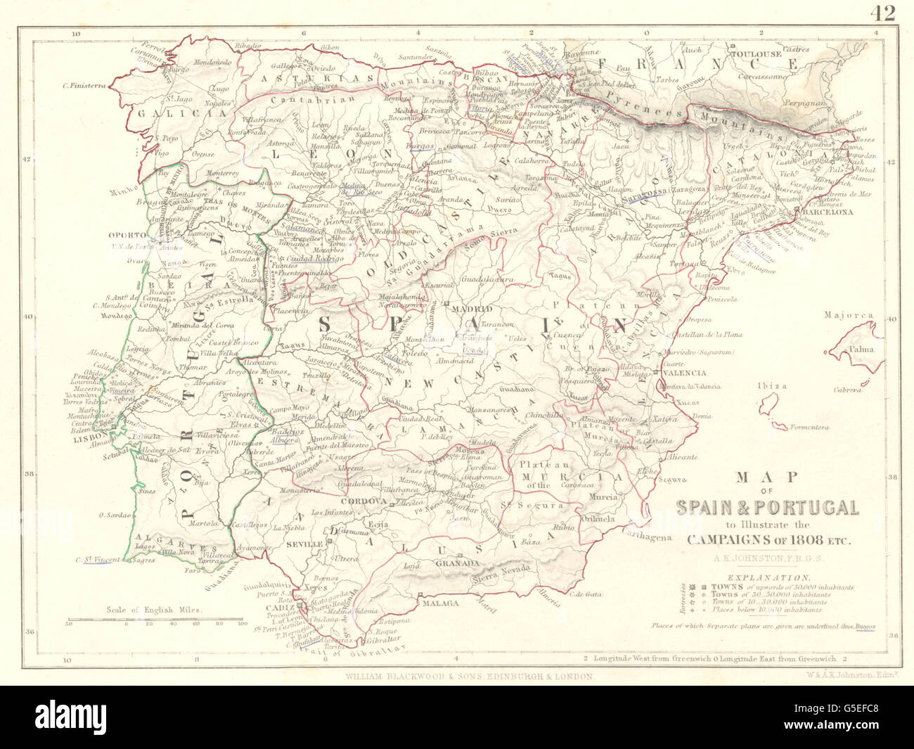 SPAIN & PORTUGAL: Illustrate the campaigns 1808. Napoleonic Wars, 1848 map - Stock Image