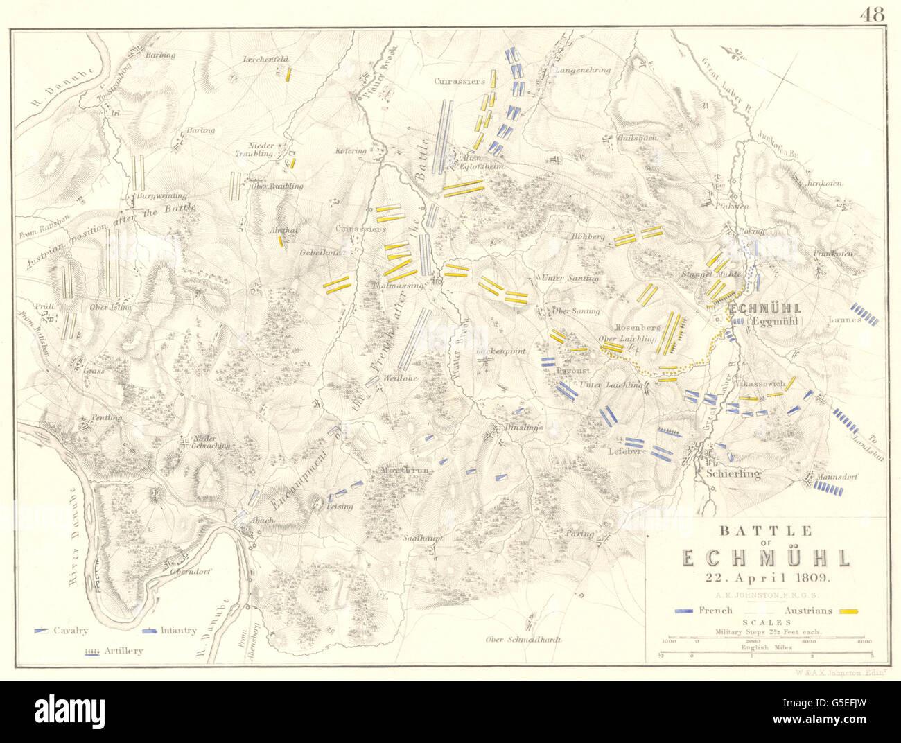 Battle Of Echmuhl 22 April 1809 Europe Napoleonic Wars 1848