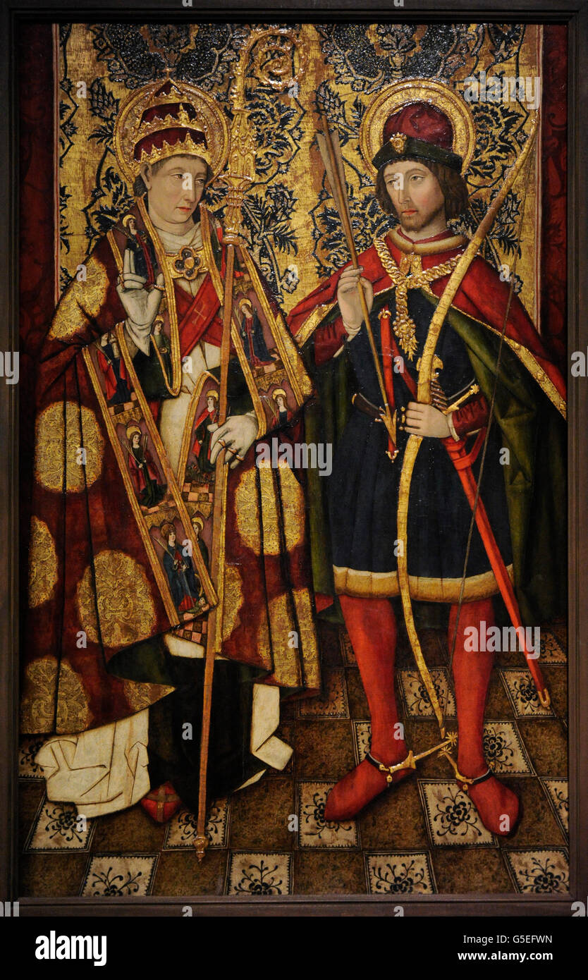 Unknown Spanish Painter of 15 century. Aragonese School. St. Sebastian and St. Fabian. Late 15th century. The State - Stock Image