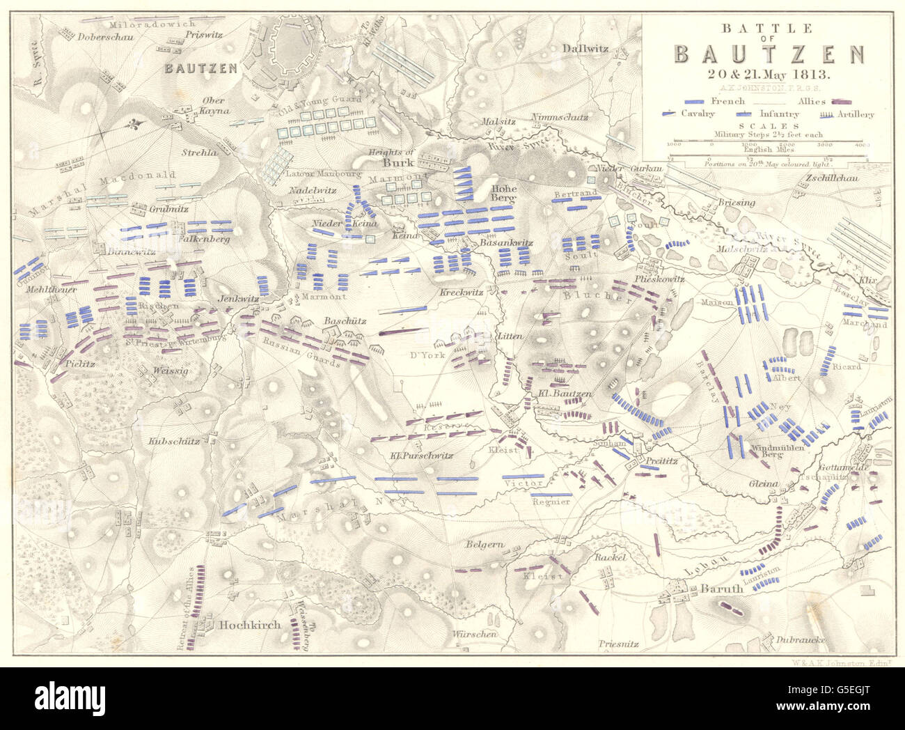 BATTLE OF BAUTZEN: 20th and 21st May 1813. Germany. Napoleonic Wars, 1848 map - Stock Image