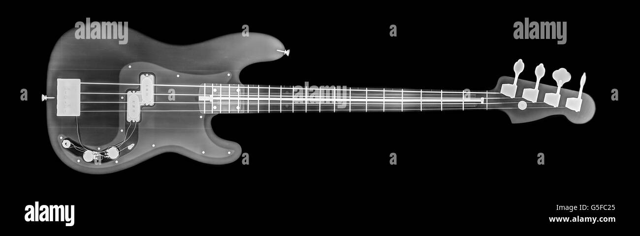 Base guitar under x-ray - Stock Image