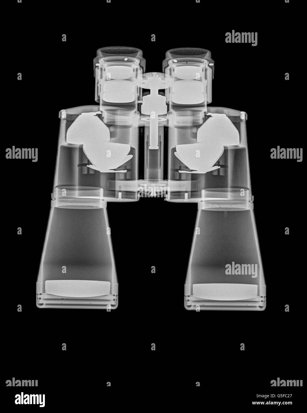 Binoculars under x-ray side view - Stock Image