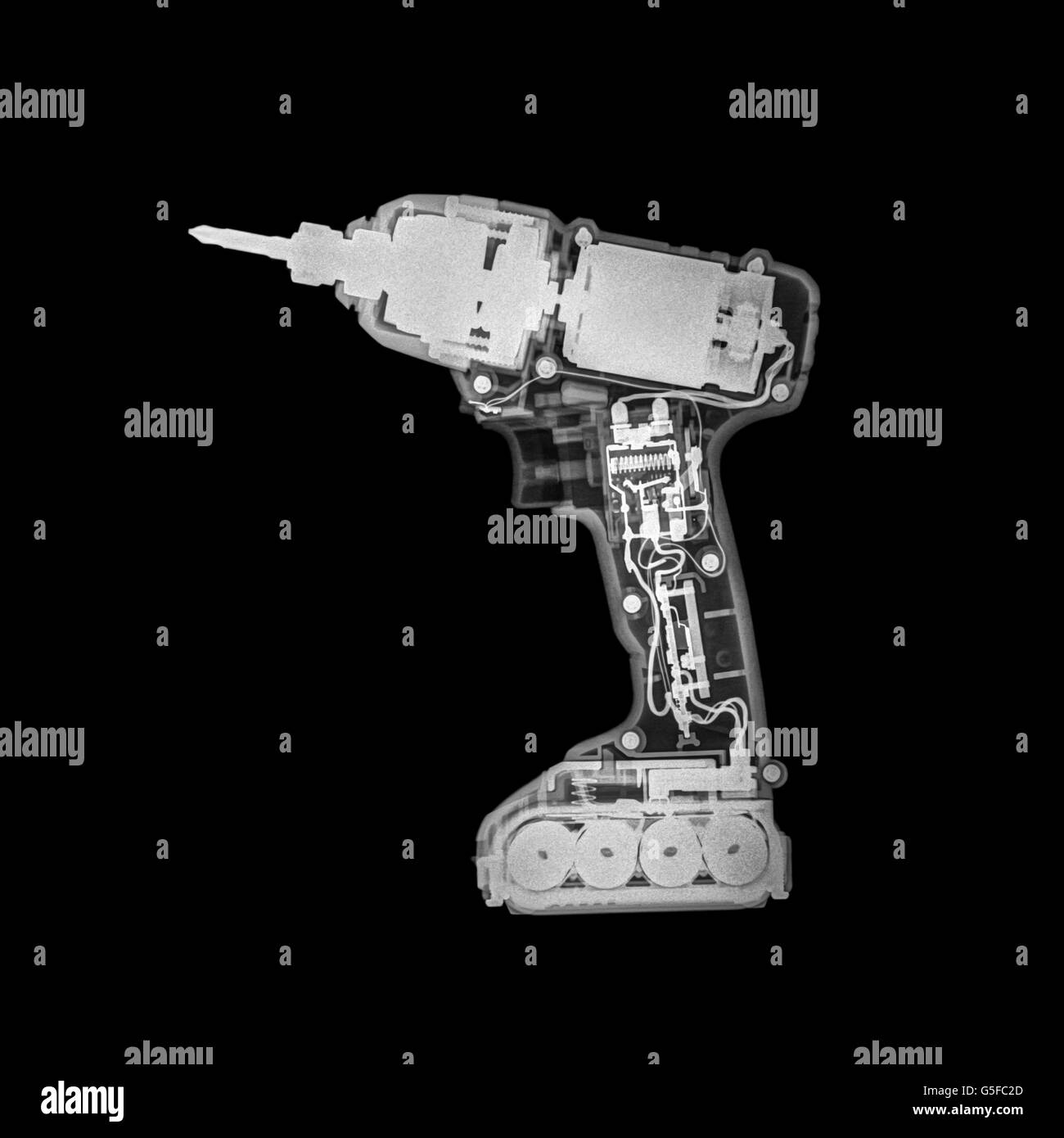x-ray of a wireless drill - Stock Image