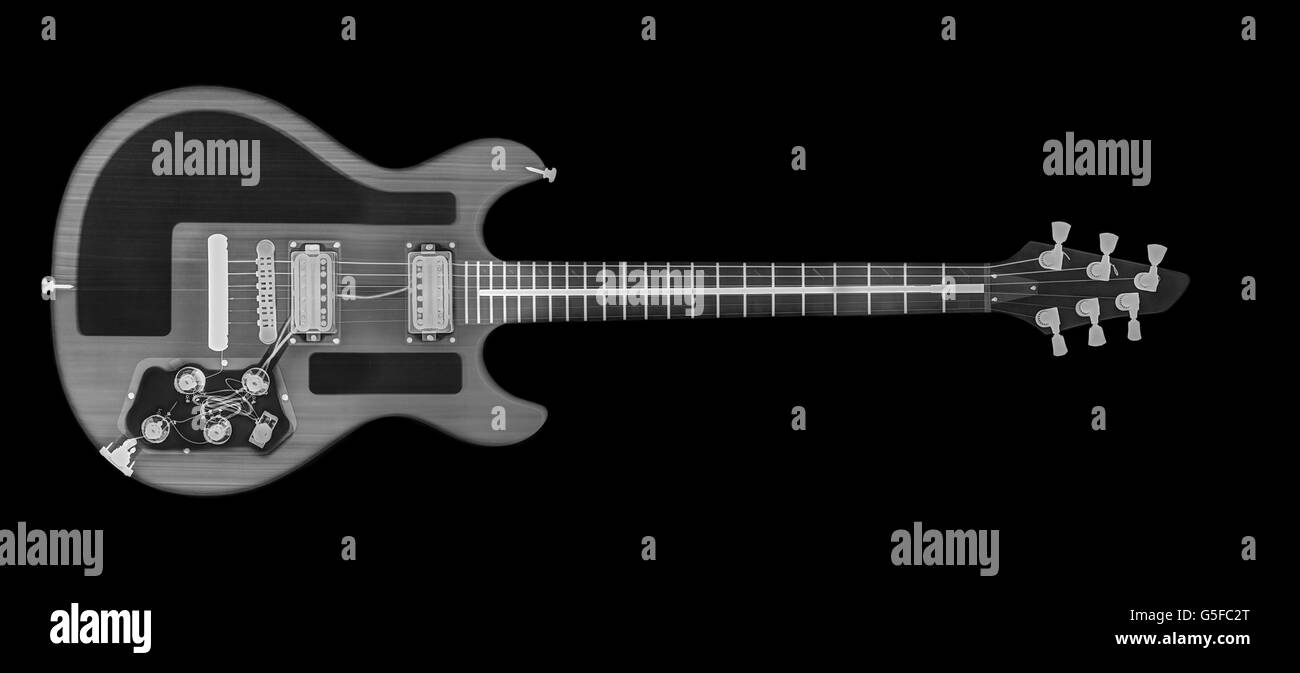 Electric Guitar under x-ray - Stock Image
