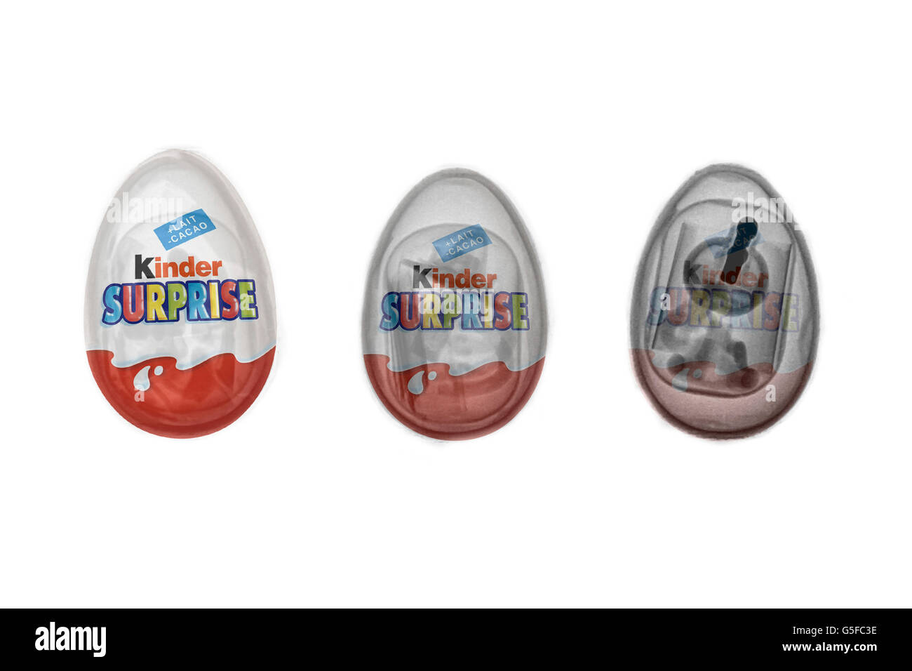 Kinder surprise chocolate egg unde3r x-ray - Stock Image