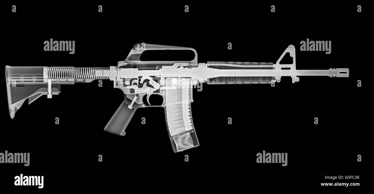M4 (m16A2) Assault rifle under x-ray - Stock Image