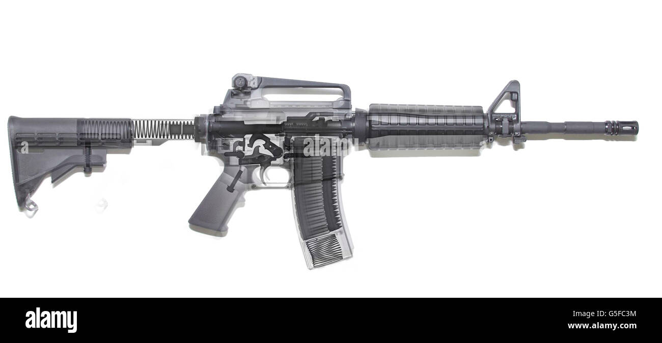 M4 (m16A2) Assault rifle under x-ray on white background - Stock Image