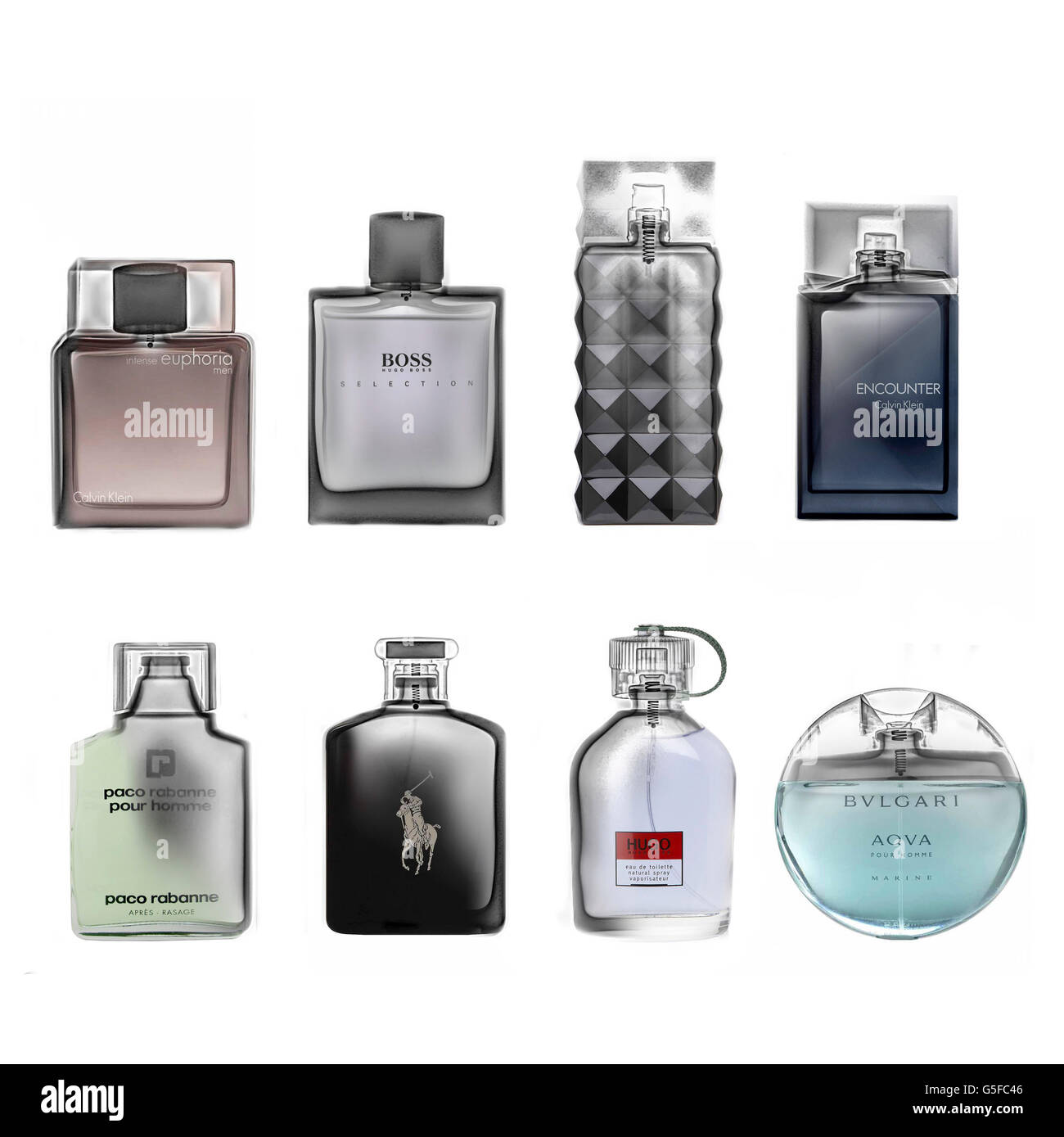 Various bottles of perfume under x-ray - Stock Image