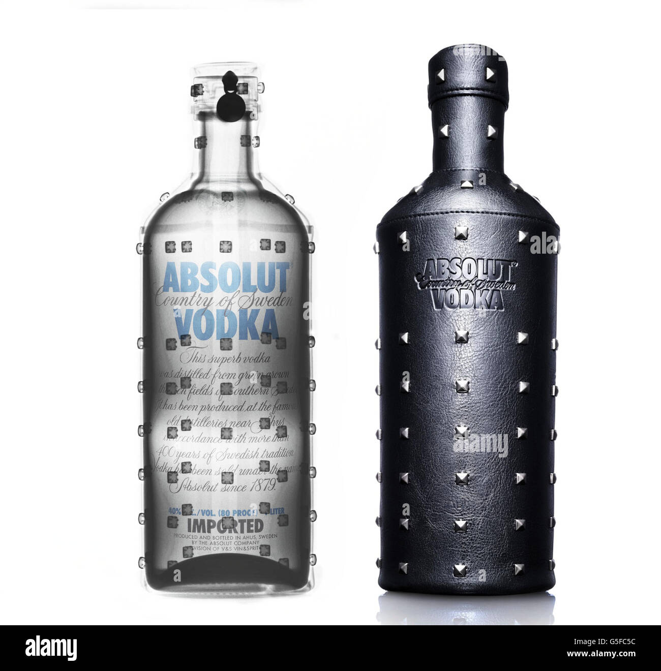 Absolut Vodka under x-ray - Stock Image