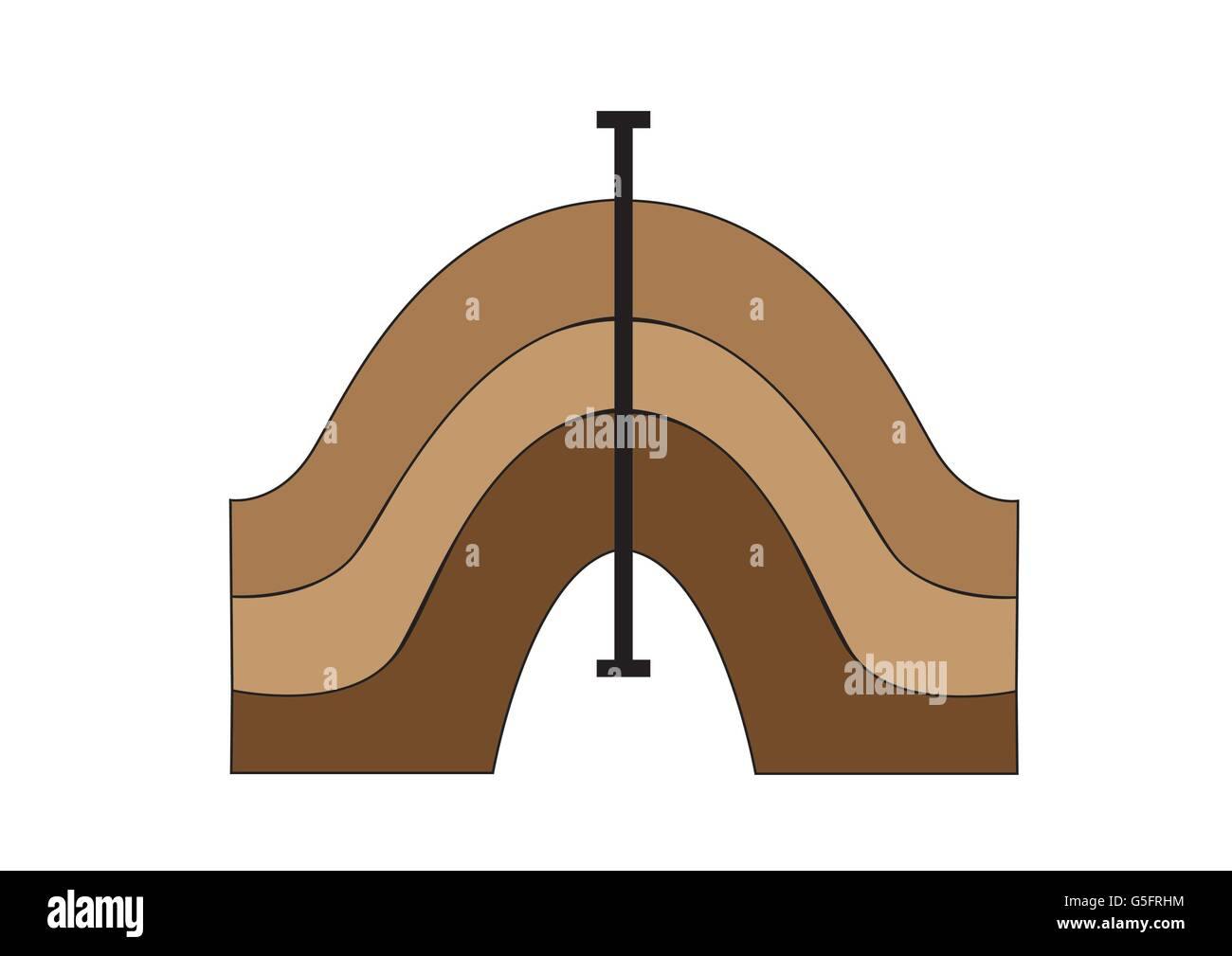 Diagram Of A Symmetrical Fold Stock Photo